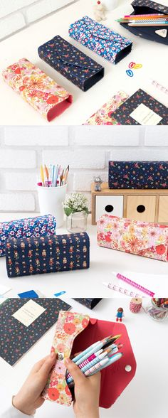 etui voor haak/breinaalden Check out this beautiful Square Pencil Case featuring very unique floral patterns. You can store your stationery easily & securely with the magnetic closure. Tape Crafts, Fabric Crafts, Fun Crafts, Sewing Crafts, Sewing Projects, Diy Projects, Diy Pencil Case, Pencil Case Tutorial, Pencil Case Pattern