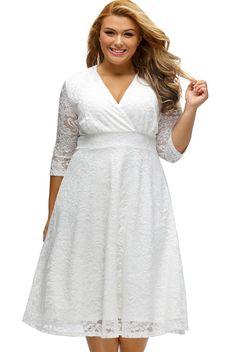 White Surplice Lace Formal Plus Size Dress https://www.modeshe.com #modeshe @modeshe #White