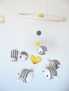 Bumble Bee Baby Mobile, Nursery Mobile, Bee Nursery Decor, Crochet Bee Crib Mobile by cherrytime on Etsy https://www.etsy.com/au/listing/228303305/bumble-bee-baby-mobile-nursery-mobile