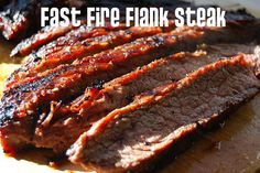Fast Fire Flank Steak on the grill is a delicious and easy meal to prepare. Just marinade the flank steak and grill! Top Recipes, Meat Recipes, Cooking Recipes, Dinner Recipes, Beef Dishes, Food Dishes, Main Dishes, Chicken Steak, Viajes