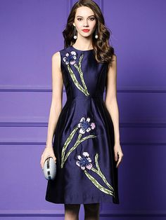 Exquisite Embroidery High Waist Ruffled Skater Dress, A-Line Dresses, All Season, Deep Blue, Elasticity, Embroidery, Empire, Knee-Length, L, M, O-Neck, Party, Patchwork, Polyester, S, Sleeveless, XL Party Dresses Online, Party Dresses For Women, Embroidery Fashion, Embroidery Dress, Skater Dress, Skater Outfits, Dress Outfits, Floral Print Maxi Dress, Maxi Dress With Sleeves