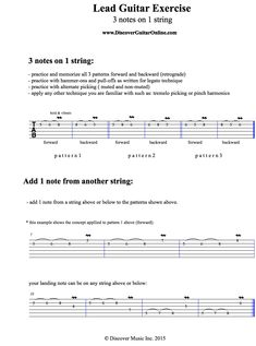 Lead Guitar Exercise: 3 notes on 1 string Piano Scales, Guitar Scales, Acoustic Guitar Notes, Guitar Chords, Learning Guitar, Playing Guitar, Guitar Tips, Guitar Lessons, Guitar Books