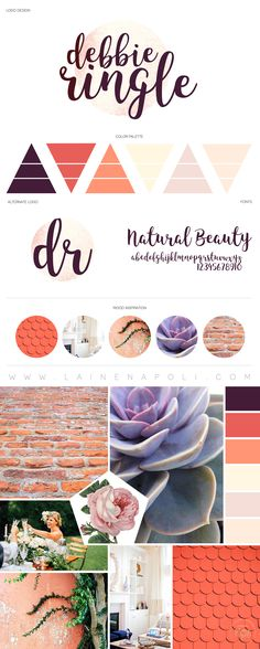 New launch from the Branding Studio. Debbie Ringle Photography. Coral, Pink, Peach, Purple mood board. Logo Design. Photography Branding. Laine Napoli Branding www.lainenapoli.com