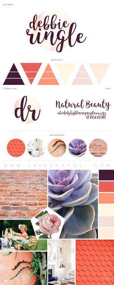 New launch from the Branding Studio. Debbie Ringle Photography. Coral, Pink, Peach, Purple mood board. Logo Design. Photography Branding. Laine Napoli Branding www.lainenapoli.com