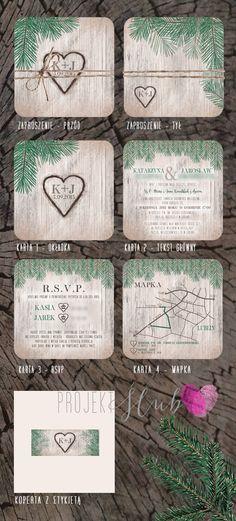 projekt ŚLUB - zaproszenia ślubne, oryginalne, nietypowe dekoracje i dodatki na wesele: Rustykalne zaproszenie ślubne WoodLOVE z motywem drewna i gałązek świerku
