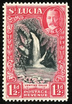 """1936 Scott 97 1 carmine """"Ventine Falls"""" Quick History Named after Saint Lucy of Syracuse by the French who settled there first in . Rare Stamps, Vintage Stamps, Postage Stamp Design, Stamp Collecting, Tag Art, Botanical Illustration, Art Forms, My Images, American History"""