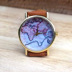 Gift for her map watch travel gift gift for women world map world map print leather watch gumiabroncs Image collections