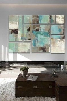 Wall of Art: Art Sets Teal and Aqua Reflections 2 by Silvia Vassileva Canvas Print Diy Wall Art, Diy Art, Wall Decor, Modern Art, Contemporary Art, Encaustic Art, Art Techniques, Painting Inspiration, Art Projects
