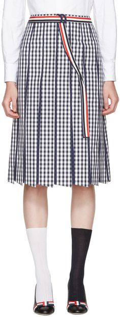 Thom Browne - Navy Trompe L'Oeil A-Line Skirt