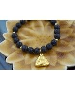Gold Love Buddha Black Lava Healing Beaded Brac... - $26.99