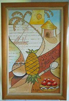 Polynesia Painting Cubist Tropical Ambrosia Polynesian Large Scale Original Oil