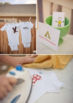 DIY Onsies I've long thought that DIY onesies would make a great baby shower activity, but have also always wondered if you'd just end up with a pile of hideous onesies you'd never want to put your baby in (hey...not everyone can be an artist). Well, just let guests choose their own iron-on transfers (like these ones I saw over at On To Baby) and set up on ironing station. Problem solved.