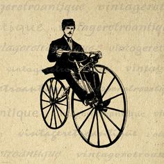 Printable Image Antique Bicyclist Bicycle Rider Velocipedes Graphic Download Digital Vintage Clip Art. Printable high quality digital image illustration. This vintage digital graphic can be used for making prints, fabric transfers, and more. Real antique artwork. For personal or commercial use. This digital graphic is high quality and high resolution at size 8½ x 11 inches. Transparent background version included with every digital image.
