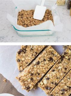 Favorite no-bake homemade granola bars made with only 5 ingredients! A super easy granola bar recipe that you can customize with your favorite add-ins. Healthy, chewy and delicious! Healthy Granola Bars, Homemade Granola Bars, Granola Barre, Sweet Recipes, Snack Recipes, Healthy Recipes, Snacks Saludables, Creative Food, Healthy Smoothies