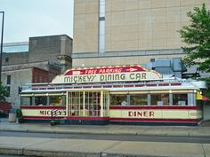 """Mickey's Dining Car by TBoard, via Flickr """"They had to build around it, this diner is on the national register of historic places. They serve a mighty fine breakfast too."""" aka Mickey's Diner"""