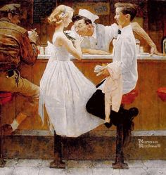 Norman Rockwell After the Prom oil painting for sale; Select your favorite Norman Rockwell After the Prom painting on canvas or frame at discount price. Art And Illustration, Illustrations, Norman Rockwell Prints, Norman Rockwell Paintings, Peintures Norman Rockwell, The Saturdays, Retro, Mail Art, Oeuvre D'art