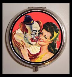 Clown Circus Romance Kitsch Pill Box Case Sweetheartsinner Stainless Steel WEIRD. $7.50, via Etsy.