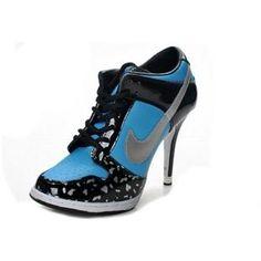 cheap for discount 5759a 755b1 Womens Nike Dunk SB Low Heels Black Blue Silver Nike High Heels, High Shoes,