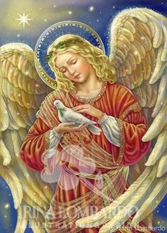 Angel and Dove by Irina Lombardo Angel Hierarchy, Christmas Angels, Christmas Art, Seraph Angel, Angels Beauty, Angel Wallpaper, Angel Guide, Archangel Michael, Archangel Gabriel