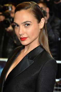 There's only one lip shade to wear alongside a slick black tuxedo jacket: RED.