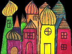 [A la manière de] Hundertwasser Art Lessons For Kids, Art For Kids, Arabian Nights Theme, Friedensreich Hundertwasser, Ecole Art, Building Art, Artist Trading Cards, Art Plastique, Elementary Art