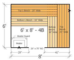 Sauna Layout with 4 Benches - Plenty of Space and Room to move with this Home Sauna Plan Woodworking Guide, Custom Woodworking, Woodworking Projects Plans, Outdoor Sauna Kits, Outdoor Gym, Outdoor Showers, Diy Sauna, Sauna Steam Room, Sauna Room