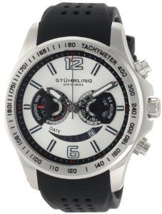 Stuhrling Original Men's 274.33162 Champion Victory Brevet Quartz Chronograph Date Black Rubber Strap Watch Stuhrling Original. $127.00. Water-resistant to 330 feet (100 M). Stainless steel satin finish case with de-bossed tachymeter on bezel. Arabic numerals 12 and 6 with quick-set date complication. Black high grade silicon rubber strap with stainless steel clasp. Silver dial with chronograph function and 24 hour counter sub-dials