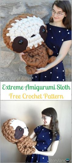 Crochet Extreme Amigurumi Sloth Free Pattern-Crochet Sloth Amigurumi Toy Softies Free Patterns