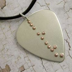Love in Braille text - Custom Silver Guitar Pick Necklace on Etsy, $293.99