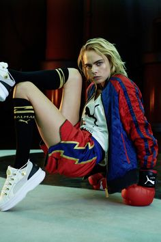Two mega brands PUMA and Balmain join forces for a limited-edition collaboration. Model Cara Delevingne and Balmain creative director Olivier Rousteing helped… Balmain, Puma, Short Boxe, Cara Delevingne Photoshoot, Cara Delvingne, Ready To Rumble, Olivier Rousteing, Campaign Fashion, Street Styles