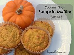 Coconut Flour Pumpkin Muffins! Moist, fluffy, tender... best of all, you only need one bowl, one spatula, and about 5 minutes to stir together the batter!