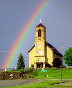St. Coletta's church, New Brunswick with rainbow