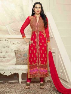 Red Georgette Suit with Embroidery Work