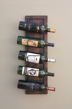 A great Father's Day gift idea!  Wall Wine Rack Holds 5 Wine Bottles  - Wood & Iron by AdliteCreations