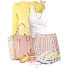 """""""Girly Casual in Pink&Yellow"""" by ccroquer on Polyvore"""