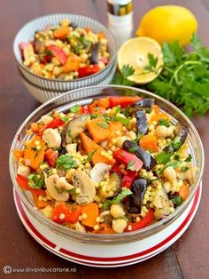 Photo about Bowl with vegetable salad with couscous. Image of food, salad, vegetarian - 51320713 Raw Vegan Recipes, Diet Recipes, Vegetarian Recipes, Cooking Recipes, Healthy Recipes, Feta Salat, Avocado Salat, Cold Vegetable Salads, Vegan Dishes