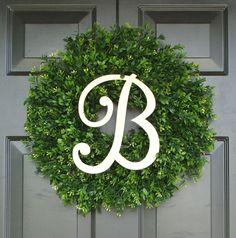 Monogram Boxwood Wreath Monogram Wreath Outdoor by ElegantWreath, $75.00