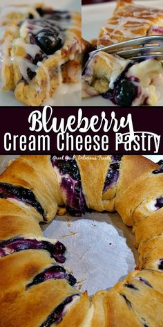 Blueberry Cream Cheese Pastry Blueberry Cream Cheese Pastry is filled with fresh blueberries, a delicious cream cheese filling, baked in a crescent ring then drizzled with glaze. Cream Cheese Pastry, Cream Cheese Danish, Cream Cheese Desserts, Cream Cheese Filling, Blueberry Desserts, Köstliche Desserts, Best Dessert Recipes, Delicious Desserts, Yummy Food