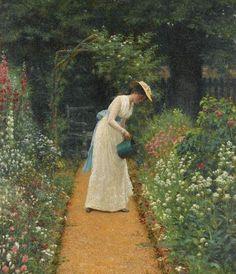 My Lady's Garden - Edmund Blair Leighton - (British: 1852-1922)