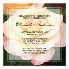 """Peachy Pink Rose Flower 80th Birthday Party 5.25"""" Square Invitation Card A beautiful 80th birthday party invitation featuring a photo of a peach and pink rose flower. Easily customize with your party details! #80th #birthday #party #80th #birthday #eighty #eightieth #birthday #party #floral #flowers #rose #peach..."""