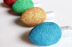 "Styrofoam DIY Glittered Christmas ""Lights"""