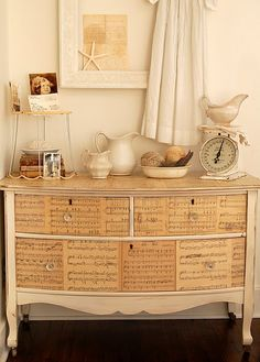 Old books, book pages, sheet music paper adhered glued modpodge onto vintage dresser; Upcycle, Recycle, Salvage, diy, thrift, flea, repurpose!  For vintage ideas and goods shop at Estate ReSale & ReDesign, Bonita Springs, FL