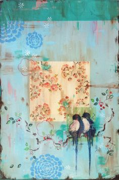 """Kathe Fraga paintings """"A Rustle of Feathers, A Whisper of Love"""", 24x36 on frescoed canvas. www.kathefraga.com Inspired by vintage Paris and chinoiserie ancienne."""