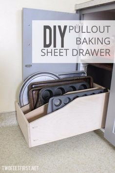 DIY Storage Ideas - DIY Pullout Baking Sheet Drawer - Home Decor and Organizing. DIY Storage Ideas - DIY Pullout Baking Sheet Drawer - Home Decor and Organizing Projects for The Bedroom, Bathroom, Living Room, Panty and . Home Organization, Home Projects, Kitchen Rack, Kitchen Storage, Diy Storage, Home Diy, Kitchen Organization, Storage, Diy Kitchen