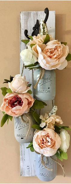 Two of my favorites, mason jars and peony flowers...magnificent #WallSconces
