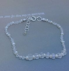 Hand Knotted Rainbow Moonstone and Pearl by MingJewelsChic on Etsy