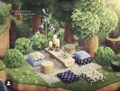 Animal Crossing Cafe, Animal Crossing Wild World, Picnic Blanket, Outdoor Blanket, Outdoor Cafe, Picnic In The Park, Island Design, Picnic Area, New Leaf