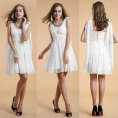 Ivory Chiffon Knee Length Short A Line Summer Wedding Party Dress SKU-401367