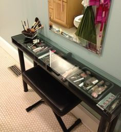 Built in container/drawer make up table! Genius!