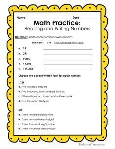 Reading and Writing Numbers in Expanded Form, Standard Form and Written Form - (Including a Personal Word Wall) - The Teacher Treasury